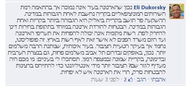 התגובה של דוקורסקי בדף הפייסבוק של קריות באינטרנט